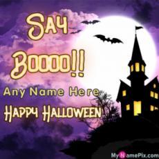 Say Booo!! Happy Halloween Wish Card With Name