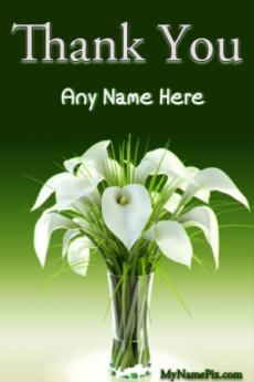 Thank You White Flowers Wish Card With Name