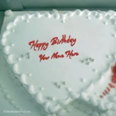 White Heart Birthday Cake With Name