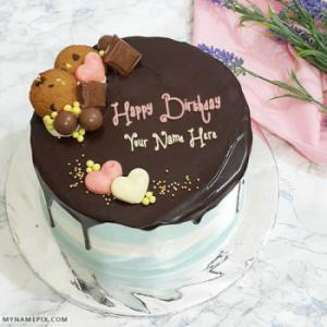 Cute Dark Chocolate Birthday Cake With Name