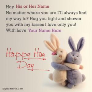 Hug Day Bunnies With Name