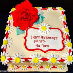 Red Rose Happy Wedding Anniversary Cakes With Name