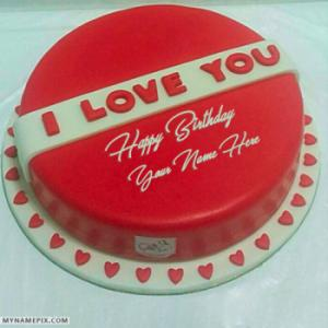 Romantic Red Velvet Happy Birthday Cakes With Name