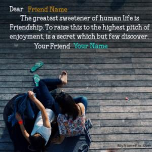 Sweet Best Friendship Wish With Name