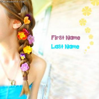 Beautiful Flowers Girl Image With Name
