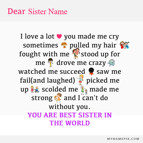 Beautiful Note For Sister With Name