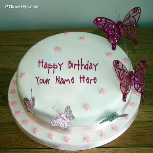 Butterflies Birthday Cake For Girls With Name