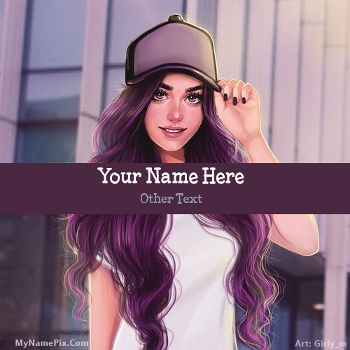 Cap Girl Drawing With Name