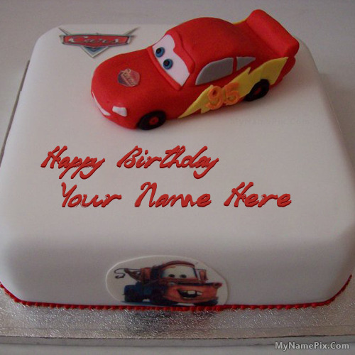 Car Birthday Cake With Name Edit