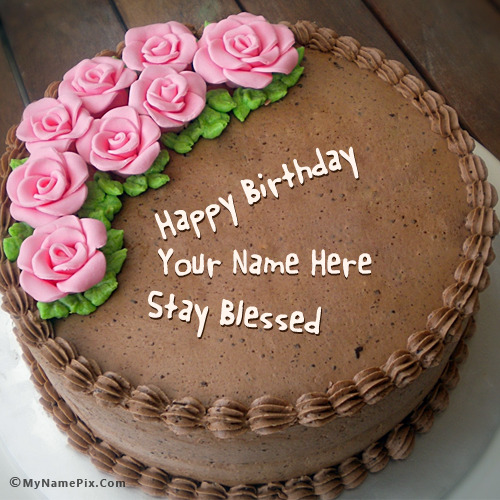 Chocolate Birthday Cake With Roses With Name