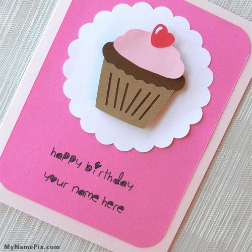 Cupcake Birthday Wish Card With Name