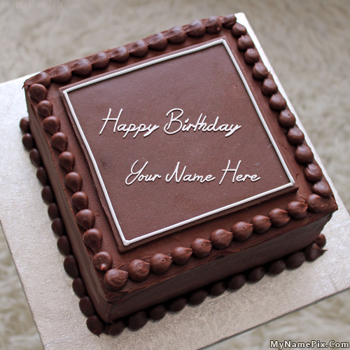 Birthday Cake Designs In Square : Elegant Square Cake With Name