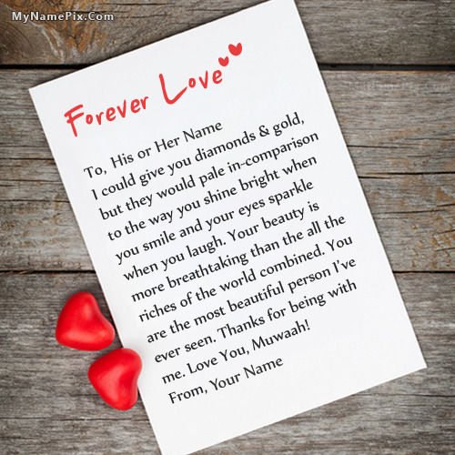 Forever Love Note Image With Name