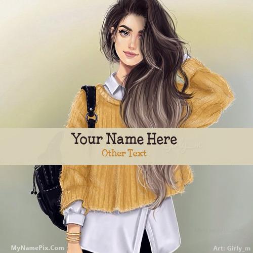 Girl with Bag With Name