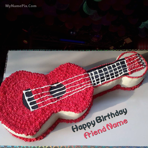 Birthday Guitar Cake With Name