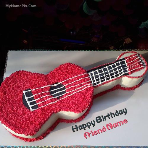 Cool Guitar Birthday Cake With Name Personalised Birthday Cards Akebfashionlily Jamesorg