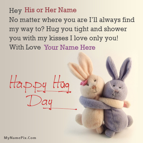 Hug Day Bunnies With Name