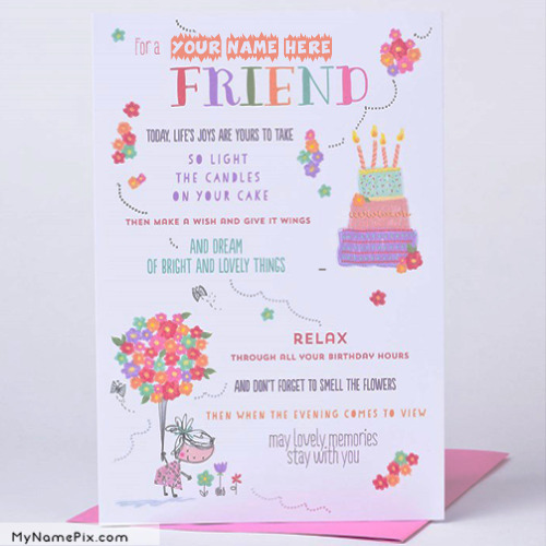 Happy Birthday Name Cards For Friend
