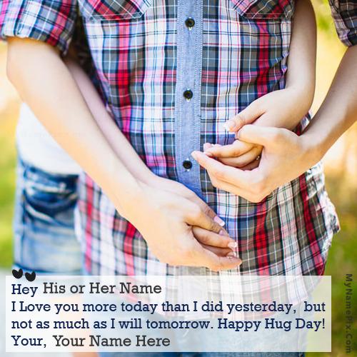 Happy Hug Day Couple With Name