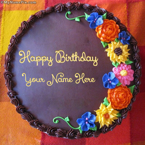 Awesome Flower Birthday Cake With Name