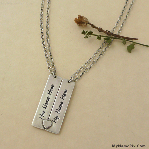 Personalized Heart Couple Necklace With Name