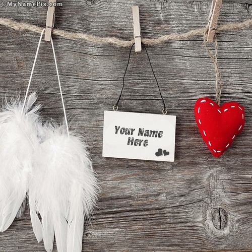 Love Tag Heart and Angel Wings With Name