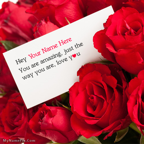 Lovely Rose Love Note With Name