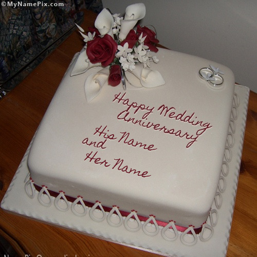 Write Name On Anniversary Cake Images : Wedding Anniversary Cake With Name