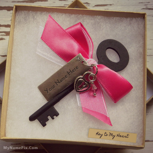 Personalized Key Heart Necklace With Name