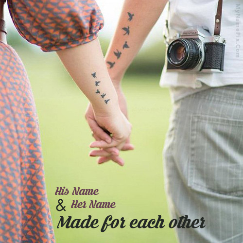 Lovely Couple Holding Hands With Name