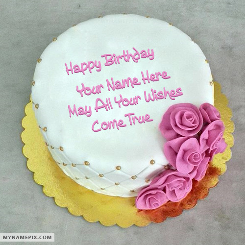 Cake Images And Names : Lovely Wish Birthday Cake With Name
