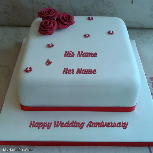 New Wedding Anniversary Cake With Name