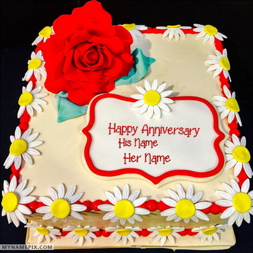 Red Rose Hy Wedding Anniversary Cakes With Name