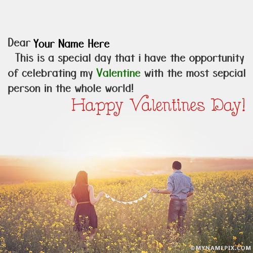 Romantic Couple Celebrating Valentnies Day With Names
