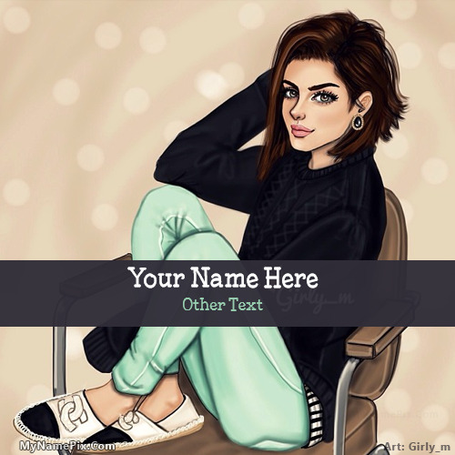 Stylish Girl Drawing Image With Name