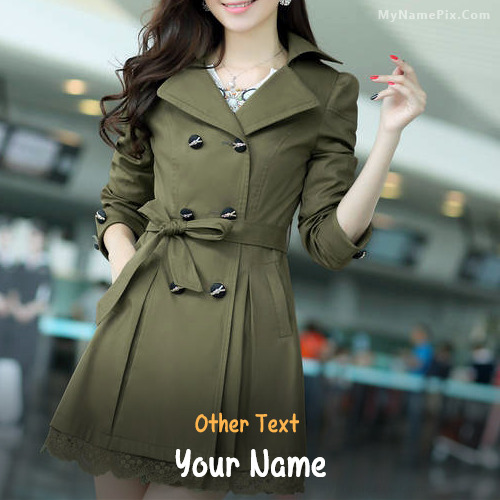 Stylish Girl In Coat With Name