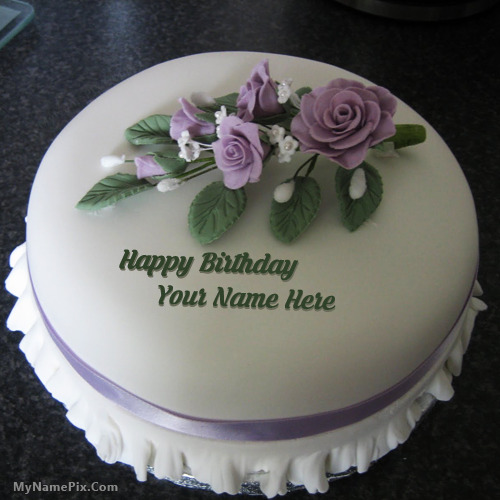 Icecream Rose Birthday Cake With Name
