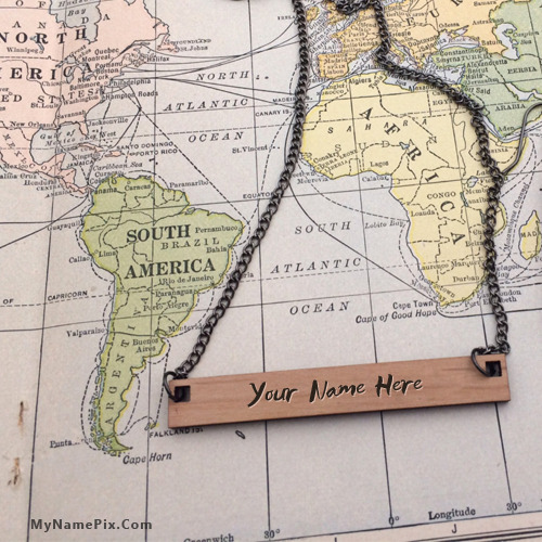 Personalized Wooden Bar Necklace With Name