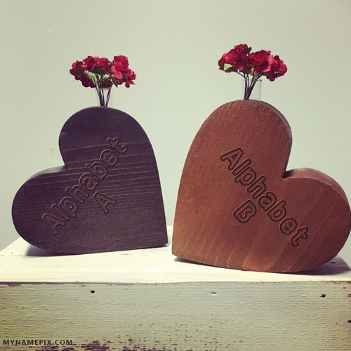 Write Couple Name Alphabets on Wooden Hearts